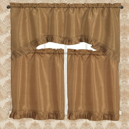 Bermuda Ruffle Kitchen Curtain Tier Set, Gold - Blue And Yellow Curtains