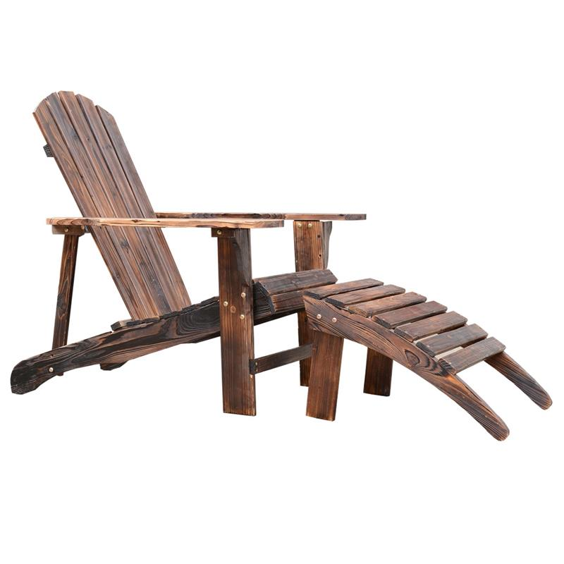 Outsunny Wooden Adirondack Outdoor Patio Lounge Chair W/ Ottoman   Rustic  Brown