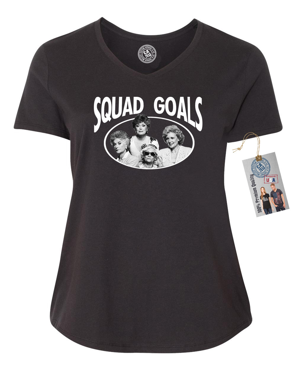 Golden Girls TV Show Squad Goals Plus Size Womens VNeck Shirt Top