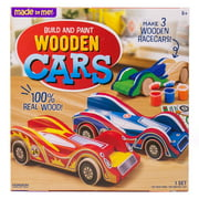 Made By Me Build & Paint Wood Cars, 3 Race Car with Moving Wheelss, 6+