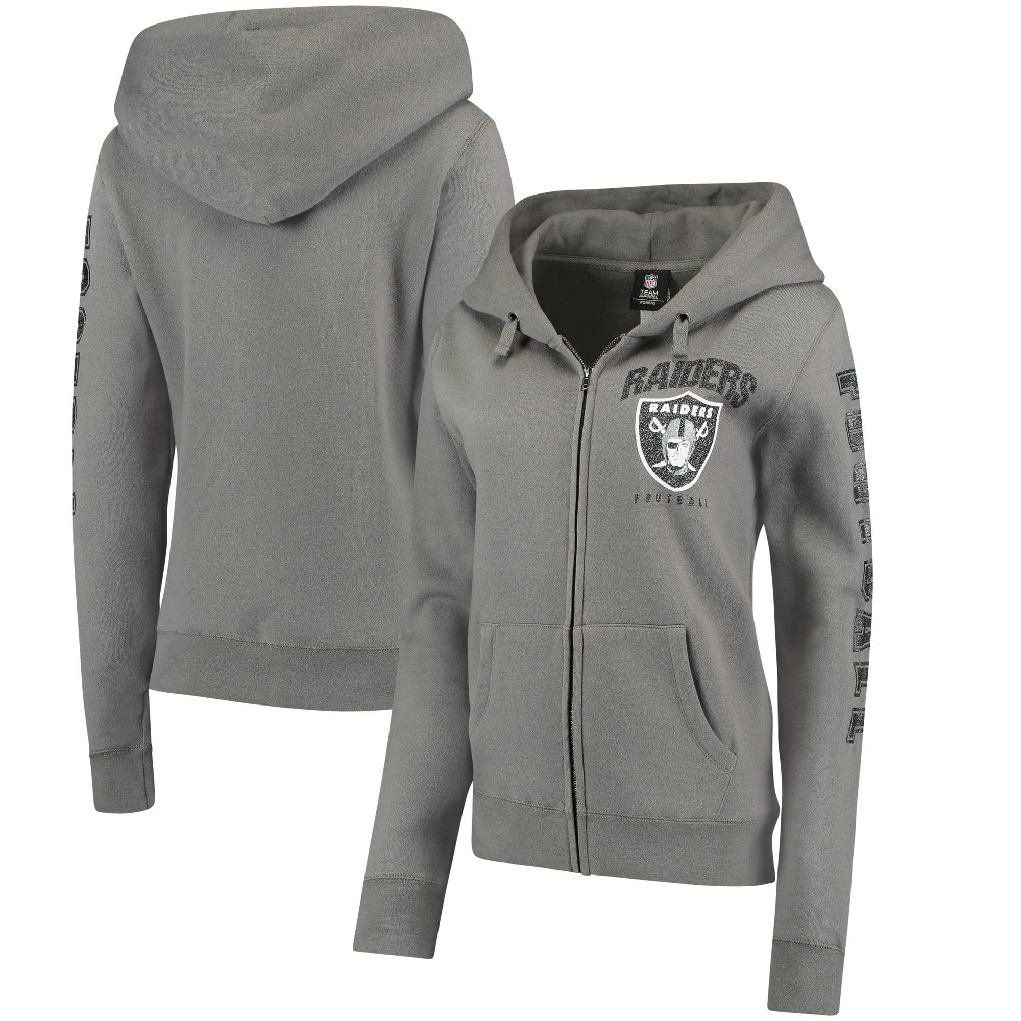 Oakland Raiders New Era Women's Playbook Glitter Sleeve Full-Zip Hoodie - Gray