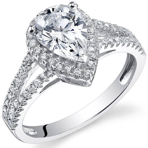 Oravo 2.33 Carat T.G.W. Pear-Cut CZ Rhodium over Sterling Silver Engagement Ring