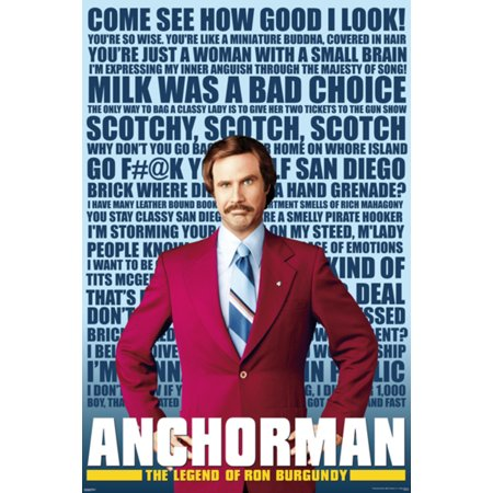 Anchorman Quotes Legend Ron Burgundy Will Ferrell TV Funny Movie Poster - 27x39 inch - Halloween Movie Quotes Funny