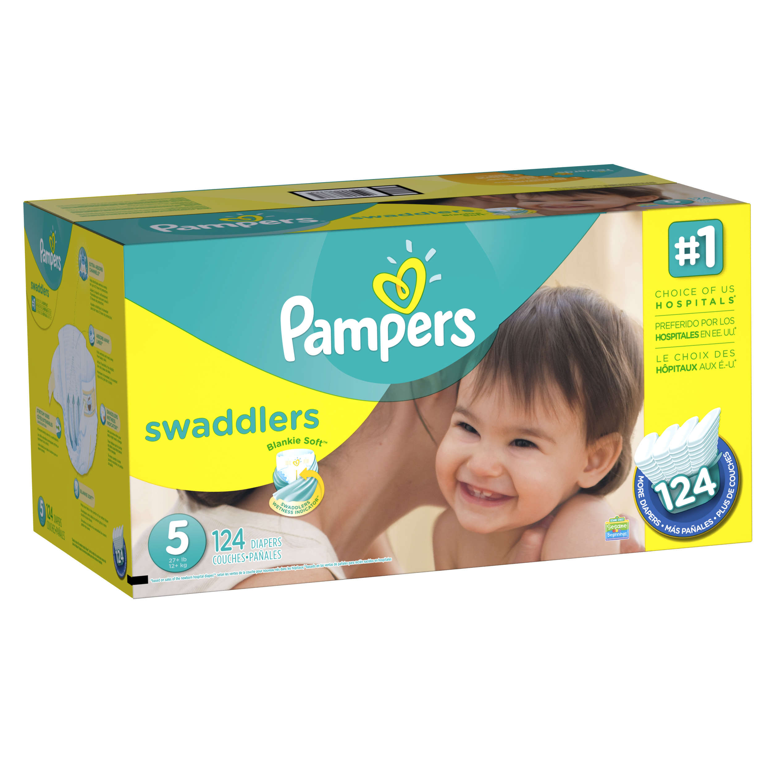 Pampers Swaddlers Diapers, Size 5, 124 Diapers