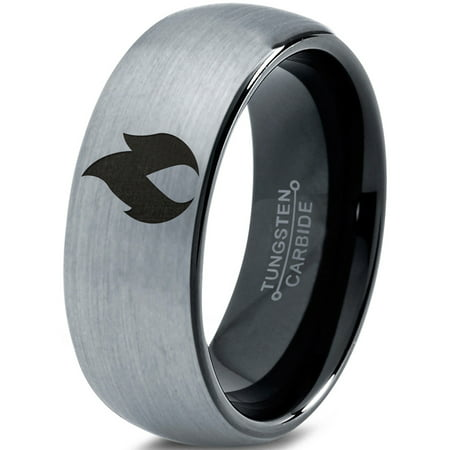 Tungsten Hot Fire Flame Emblem Band Ring 8mm Men Women Comfort Fit Black Dome Brushed Gray Polished