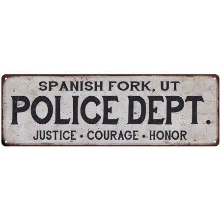 spanish fork ut police dept vintage look metal sign chic decor retro 6183726