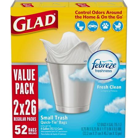 Glad OdorShield Small Trash Bags - Febreze Fresh Clean - 4 Gallon - 52 Count - Trash Bag Halloween Wreath