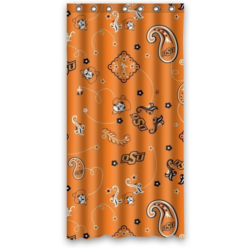 GreenDecor Oklahoma State University Waterproof Shower Curtain Set with Hooks Bathroom Accessories Size 48x72 inches