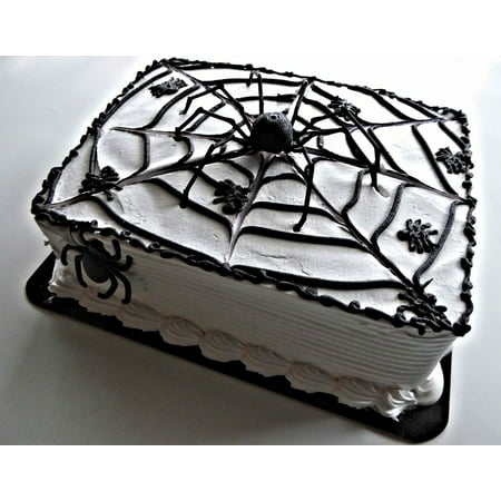 Canvas Print Sweet Chocolate White Frosting Halloween Spider Cake Stretched Canvas 10 x 14