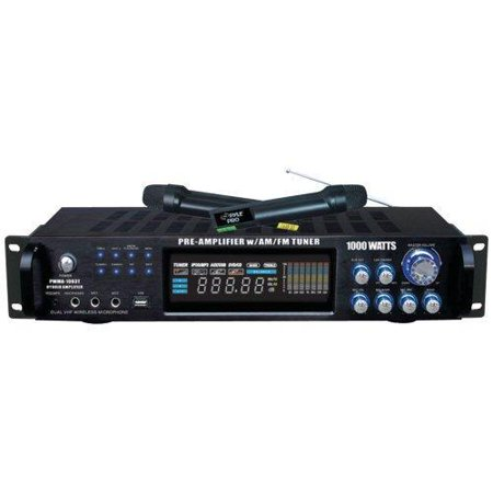 1000 Watts Hybrid Home Stereo Receiver Amplifier W AM-FM Tuner USB Dual Wireless Mic by