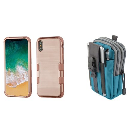 TUFF Hybrid (Military Grade Certified) Brushed Finish Phone Protector Cover Case (Rose Gold) with Blue Gray Tactical EDC MOLLE Belt Bag Pouch and Atom Cloth for Apple iPhone XS (2018)/iPhone X (2017) -  Bemz Depot
