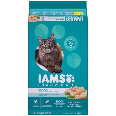 IAMS PROACTIVE HEALTH Adult Indoor Weight & Hairball Care Dry Cat Food with Chicken, Turkey, and Garden Greens, 22 lb. Bag