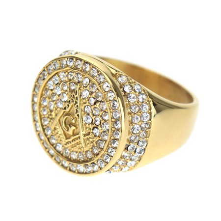 Mens CZ Iced Out 14k Gold Plated freemason Symbol Ring Size 8