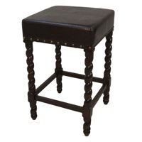 Carolina Chair and Table Brown Leatherette 24 Inch Counter Stool