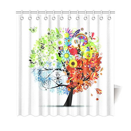 BSDHOME Four Seasons Tree of Life Shower Curtain, Colorful Butterfly Polyester Fabric Shower Curtain Bathroom Sets with Hooks 66x72 Inches - image 1 of 3
