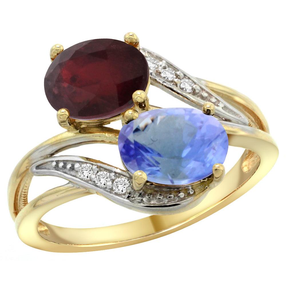 14K Yellow Gold Diamond Enhanced Ruby & Natural Tanzanite 2-stone Ring Oval 8x6mm, size 5 by Gabriella Gold