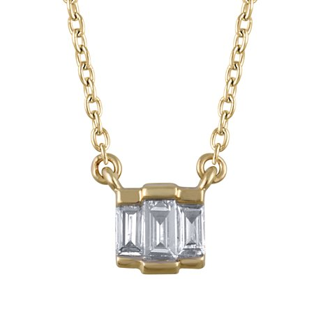 1/10 cttw Diamond Baguette Necklace (VS clarity, G-H color) in 14K Yellow Gold Ct Tw Polished Diamond Necklace