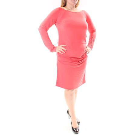 RACHEL ROY Womens Coral Ruched Long Sleeve Jewel Neck Below The Knee Drop Waist Dress  Size:
