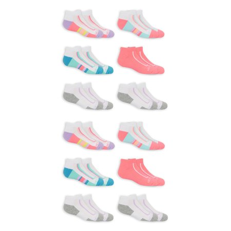 Fruit of the Loom Girls Socks, 12 Pack Low Cut Active Cushion Sizes M - L