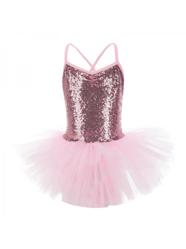 Kids Ballet Dance Dress Tutu Skirts Girls Sequined Leotard Gymnastics Dancewear