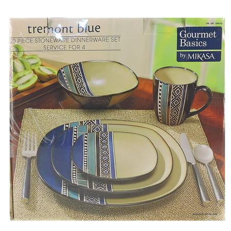 Gourmet basics 20 piece stoneware Tremont Blue dinnerware set