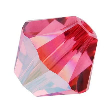 Swarovski Crystal, #5328 Bicone Beads 4mm, 24 Pieces, Indian Pink (Pink Swarovski Bicone)