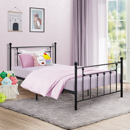 Victorian Metal Platform Bed Frame Mattress Foundation/Box Spring Replacement with Headboard