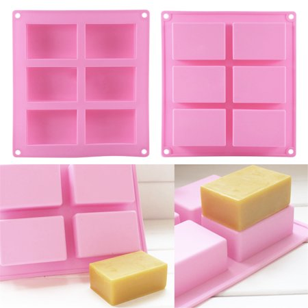 1PC 6-Cavity Plain Rectangle Silicone Soap Mold Craft DIY Making Homemade Cake Mould - image 3 of 4