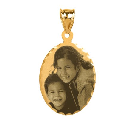 - Personalized 14K Gold Over Sterling Silver Black and White Diamond Cut Bordered Photo Charm