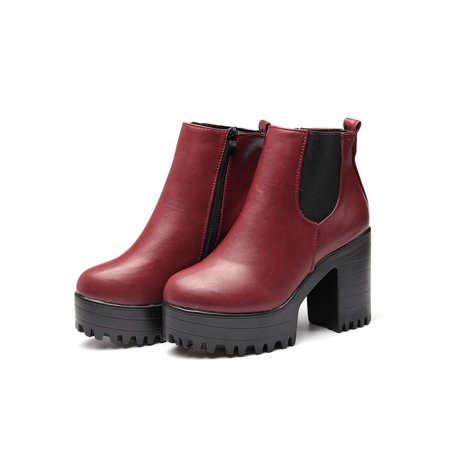 Women Leather Chunky Shoes Ankle Platform Zipper Block Heel Boots Party