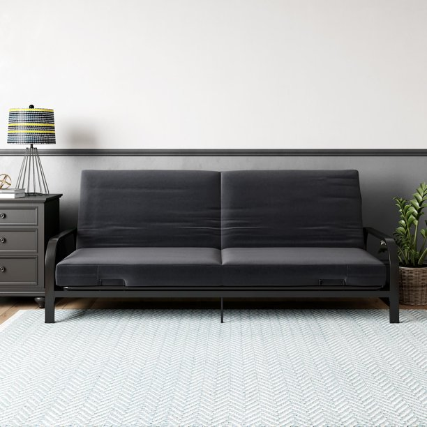 Mainstays Metal Arm Futon, Black Metal Frame, Multiple Colors Available