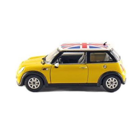 KINSMART 1:32 MINI COOPER BRITISH FLAG ROOF YELLOW COLOR KT5059DFB