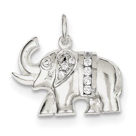 Sterling Silver CZ Elephant Charm QC5068 (16mm x 22mm) - image 3 de 3
