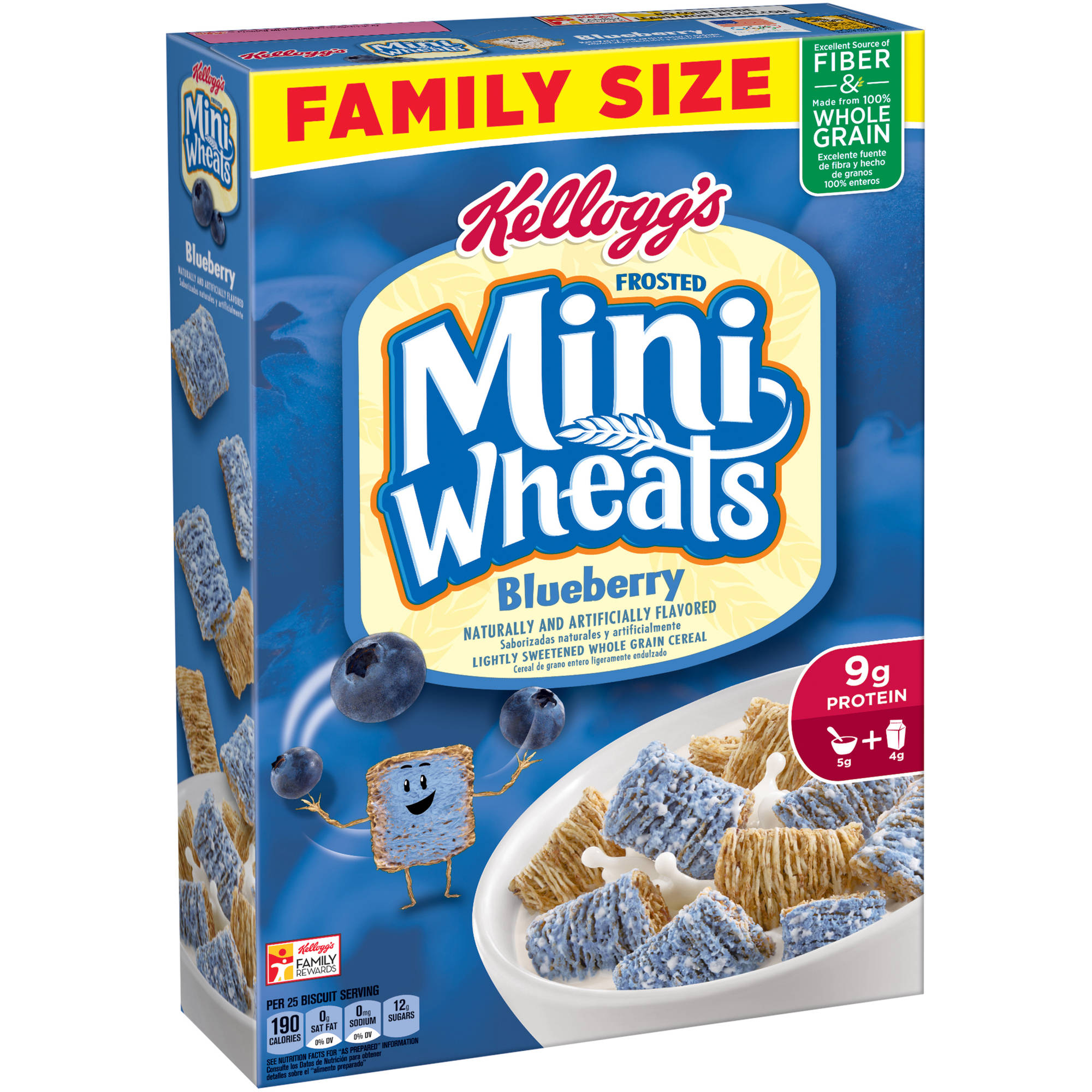 Kellogg's Frosted Mini-Wheats Blueberry Whole Grain Cereal, 21 oz