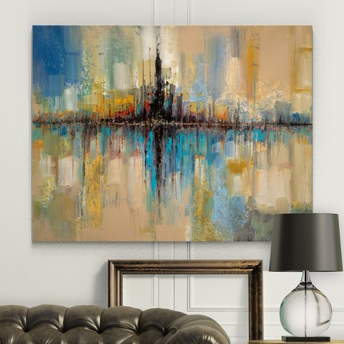 Ivy Bronx 'City Lights' Watercolor Painting Print on Wrapped Canvas