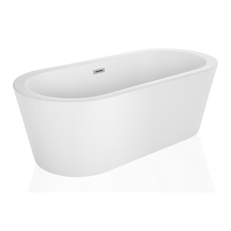 "Empava 67"" Luxury Freestanding Bathtub Acrylic Soaking SPA Tub by Empava – Modern Stand Alone Bathtubs with Custom Contemporary Design, White EMPV-FT1505"