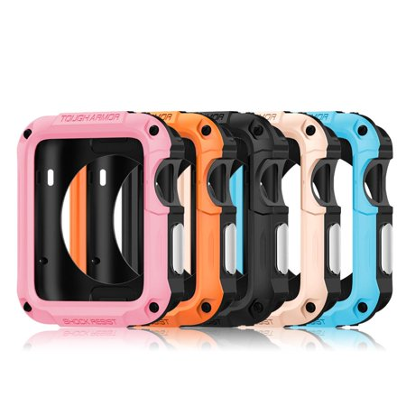 For Apple Watch Case + Flim Protector 42mm iWatch Shockproof Protective Rugged Bumper Cover Tough Screen -Orange