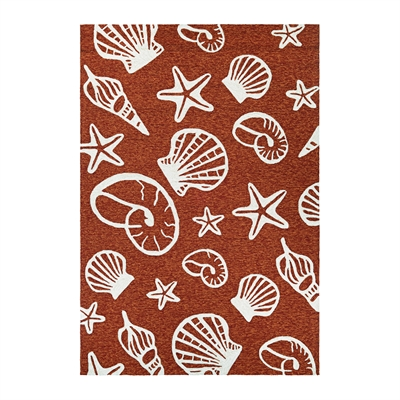 Couristan Outdoor Escape Cardita Shells Rug In Terra Cotta-Ivory - (2 Foot x 4 Foot)