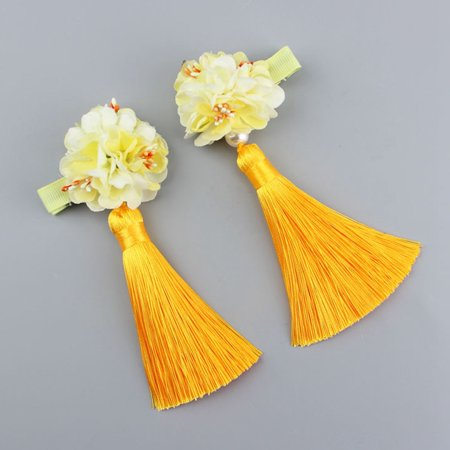 Fancyleo 1 Pair  Chinese Style Hairy Furry Balls Bows Tassels Hair Clips Barrettes for Kids Festival](Golf Hair Bows)