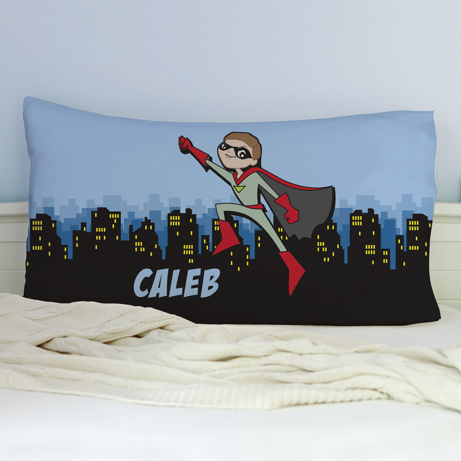 Personalized Light Skin Superhero Pillowcase
