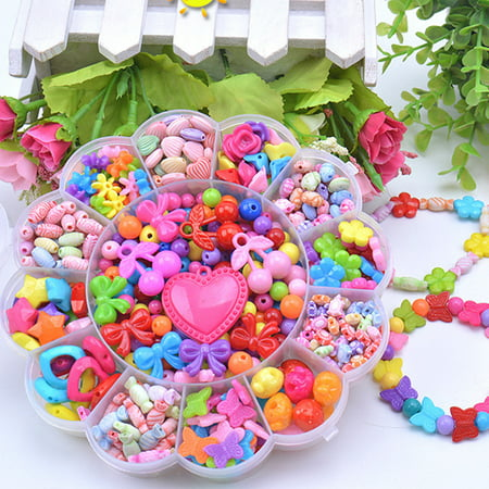 Outop Colorful Acrylic Beads Toy Diy Jewelry Making Kit For Children Necklace And Bracelet Craft Kit