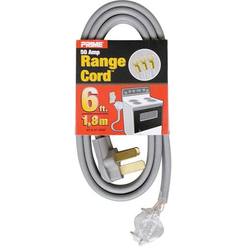 Prime 3-Pole 3-Wire SRDT 50A 125/250-Volt Range Cord, Gray, 6-Feet