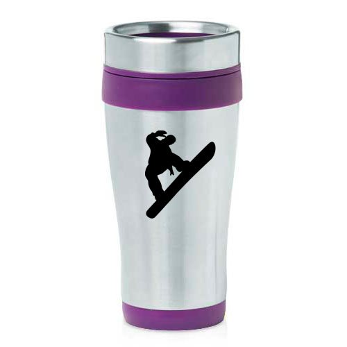 16oz Insulated Stainless Steel Travel Mug Snowboard Snowboarder (Purple ) by