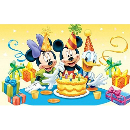 Mickey Minnie Mouse Donald Disney Birthday Party Edible Image Photo Event 1/4 Quarter Sheet Cake Topper Personalized Custom Customized for $<!---->