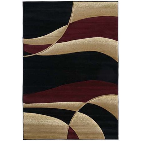 United Weavers Contours Area Rugs - 510-22834 Solid & Striped Burgundy Wavy Lines Semi Circles Wavy Stripes Rug ()
