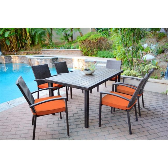 Jeco W00301-A-G-FS016 7 piece Espresso Wicker Dining Set with Orange Cushion