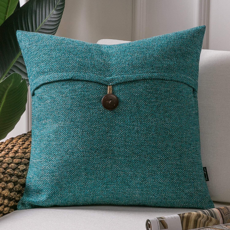 Phantoscope Farmhouse Series Cotton Blend Decorative Throw Pillow With Single Button 18 X 18 Lake Blue 1 Pack Walmart Com Walmart Com