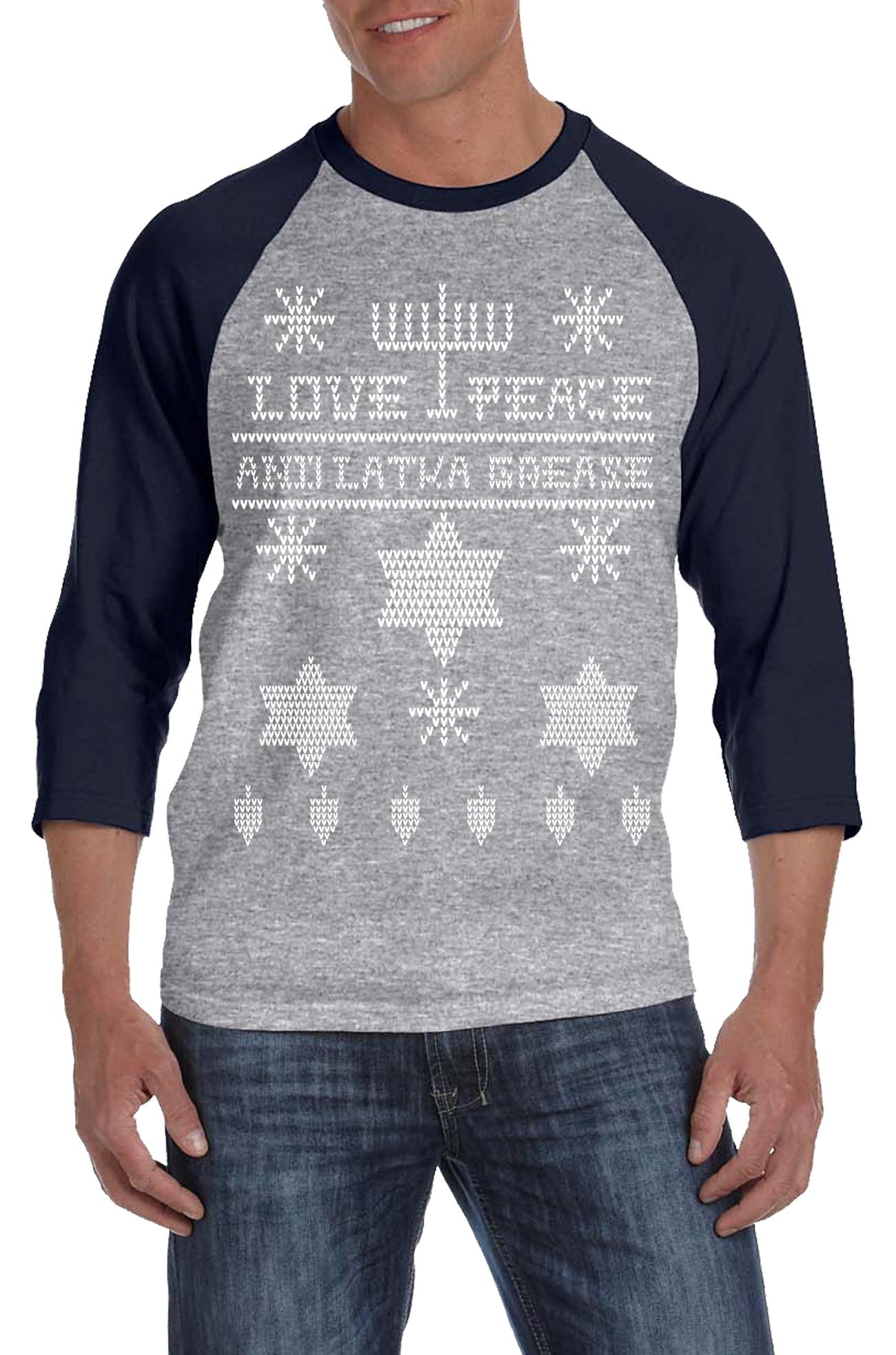 Crazy Dog TShirts Ugly Hanukkah Sweater RAGLAN Funny Ugly Sweater Shirt Holiday... by Crazy Dog T-Shirts
