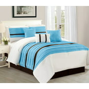 Serene Stripe California King Size 7 Piece Elegant Comforter Bedding Set Soft Oversized Bed In