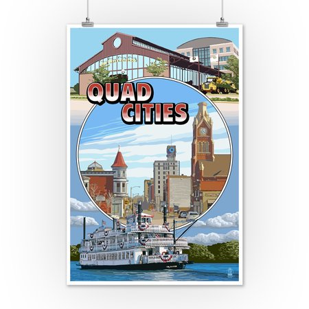 Quad Cities Montage Scenes Lantern Press Poster 12x18 Art Print Wall Decor Travel Poster